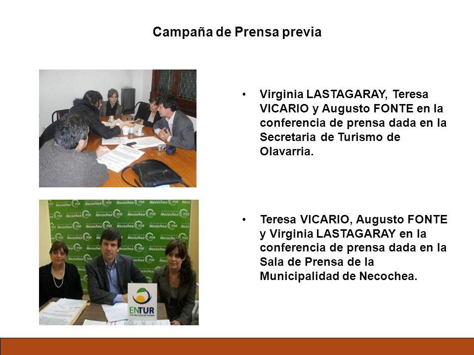 Campaña de Prensa previa Virginia LASTAGARAY, Teresa VICARIO y Augusto FONTE en la conferencia de prensa dada en la Secretaria de Turismo de Olavarria