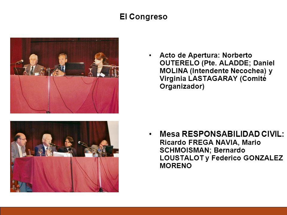 El Congreso Acto de Apertura: Norberto OUTERELO (Pte. ALADDE; Daniel MOLINA (Intendente Necochea) y Virginia LASTAGARAY (Comité Organizador) Mesa RESP