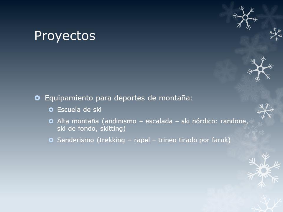 Proyectos Equipamiento para deportes de montaña: Escuela de ski Alta montaña (andinismo – escalada – ski nórdico: randone, ski de fondo, skitting) Senderismo (trekking – rapel – trineo tirado por faruk)