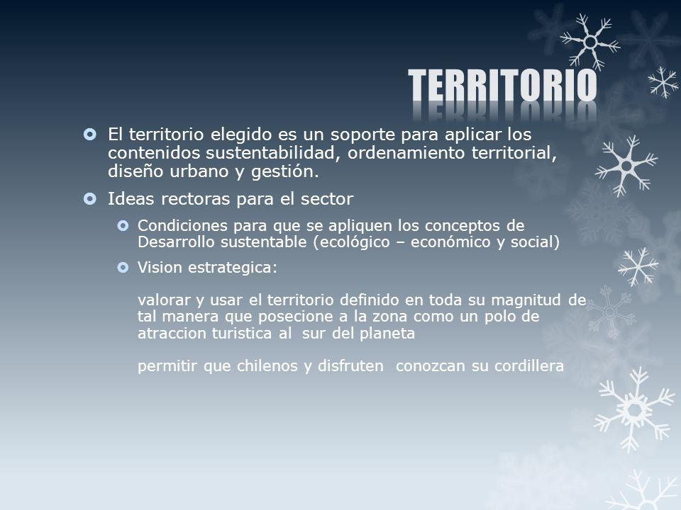 El territorio elegido es un soporte para aplicar los contenidos sustentabilidad, ordenamiento territorial, diseño urbano y gestión.
