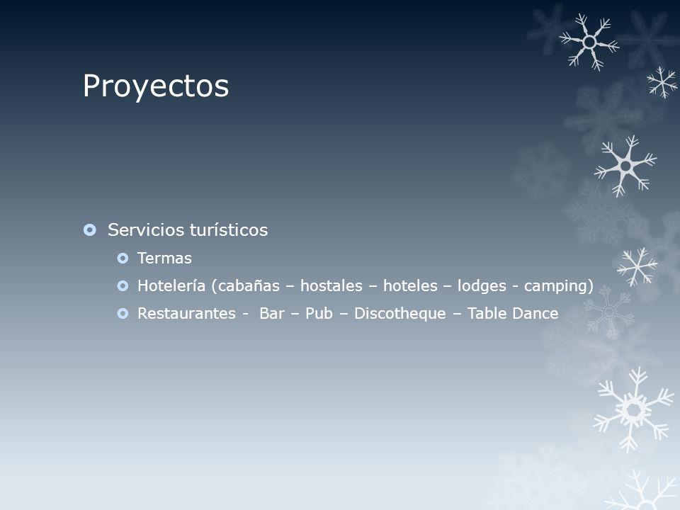 Proyectos Servicios turísticos Termas Hotelería (cabañas – hostales – hoteles – lodges - camping) Restaurantes - Bar – Pub – Discotheque – Table Dance