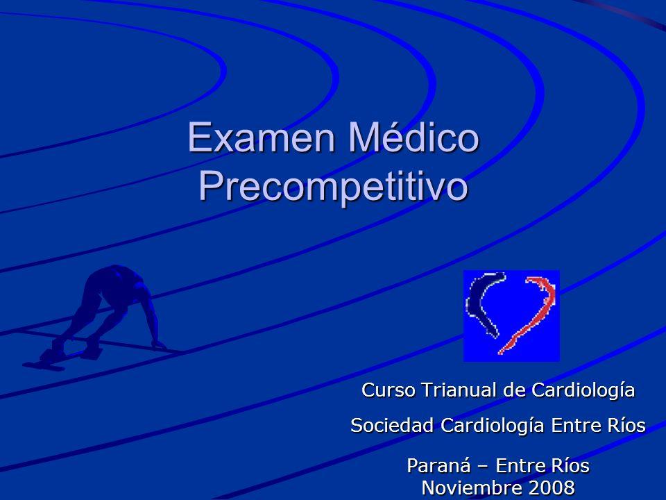 SINDROME DE WOLF-PARKINSON-WHITE Incidencia baja: 0,3 al 0,4% Muerte súbita rara: 0,0015 pacientes/año (ningún asintomático) Deportista de recreación –Métodos complementarios PEG Ecocardiograma doppler Holter Estudio electrofisiologico en sintomáticos o deportistas de competición