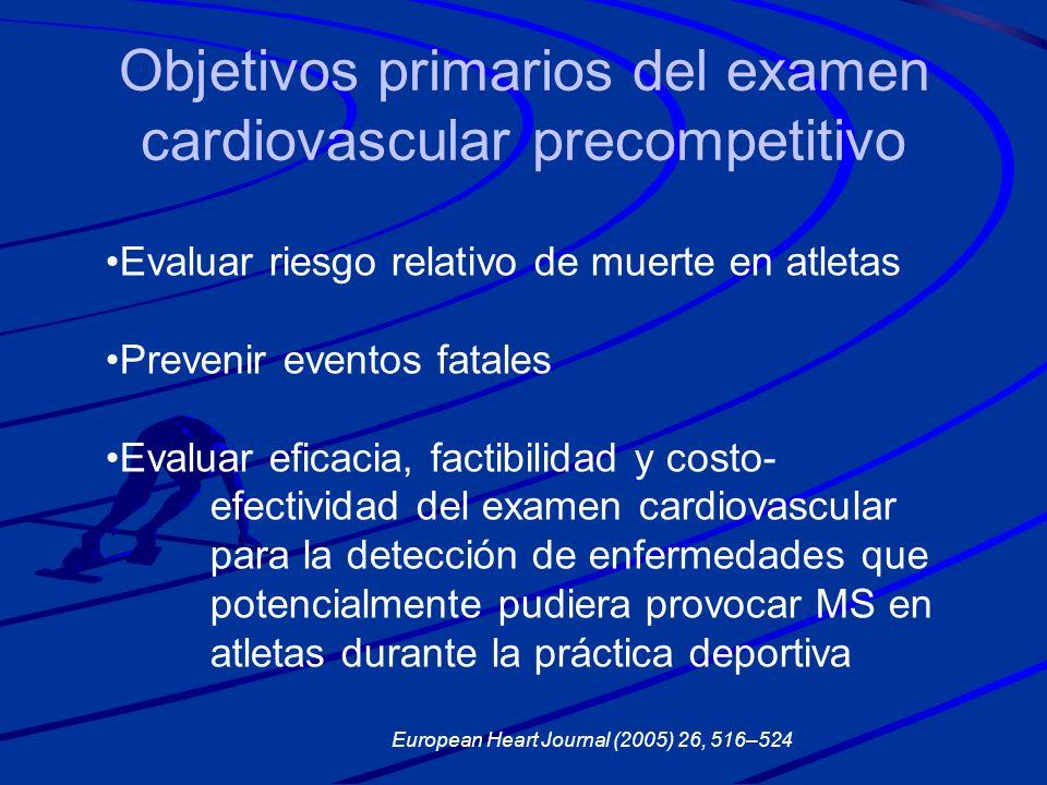 Objetivos primarios del examen cardiovascular precompetitivo Evaluar riesgo relativo de muerte en atletas Prevenir eventos fatales Evaluar eficacia, f