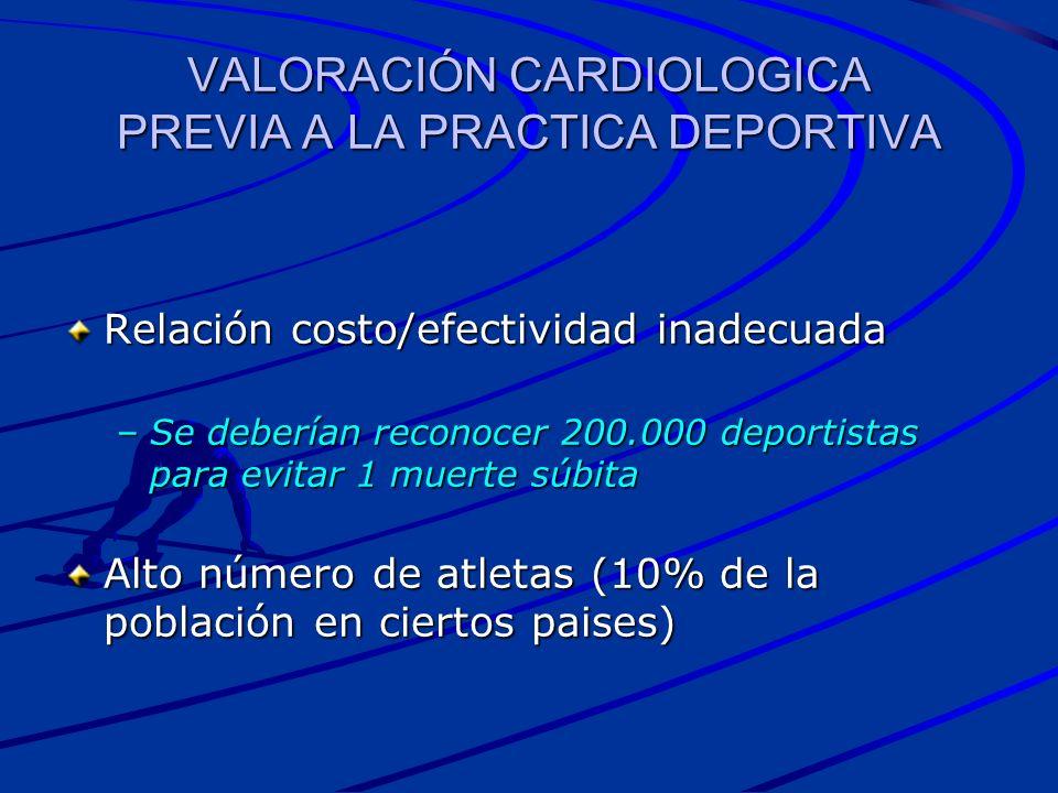 VALORACIÓN CARDIOLOGICA PREVIA A LA PRACTICA DEPORTIVA Relación costo/efectividad inadecuada –Se deberían reconocer 200.000 deportistas para evitar 1