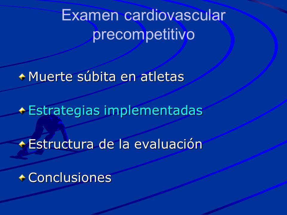 Muerte súbita en atletas Estrategias implementadas Estructura de la evaluación Conclusiones Examen cardiovascular precompetitivo