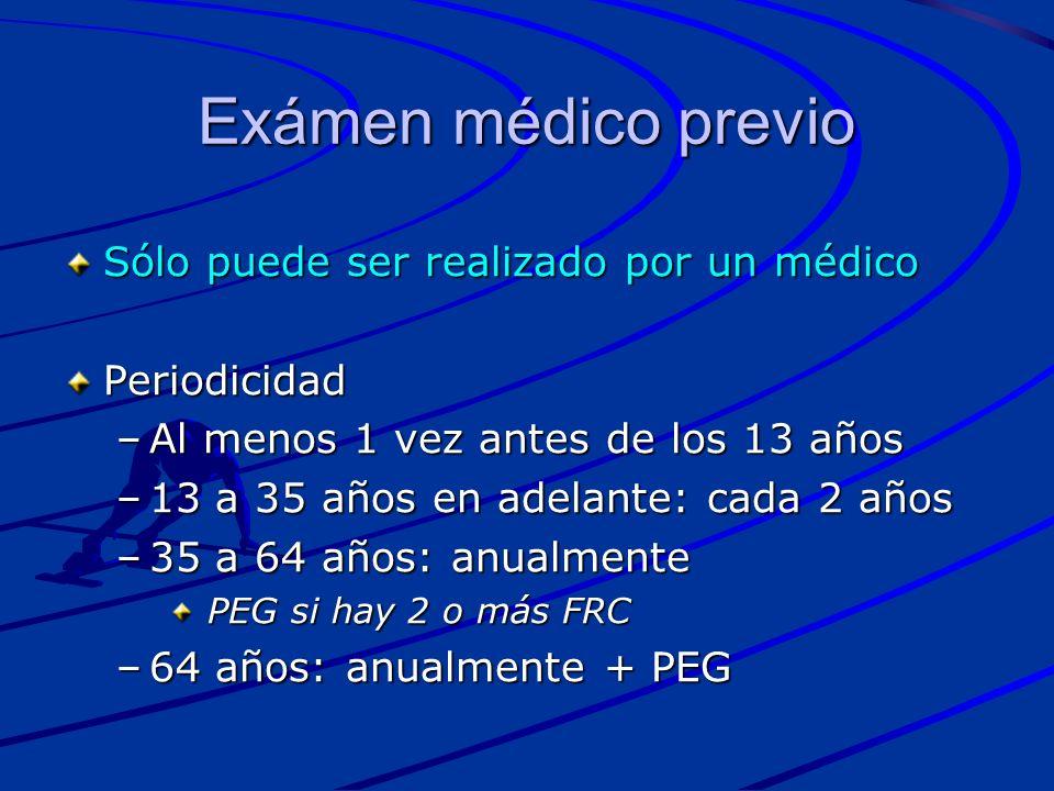 Exámen médico previo Sólo puede ser realizado por un médico Periodicidad –Al menos 1 vez antes de los 13 años –13 a 35 años en adelante: cada 2 años –