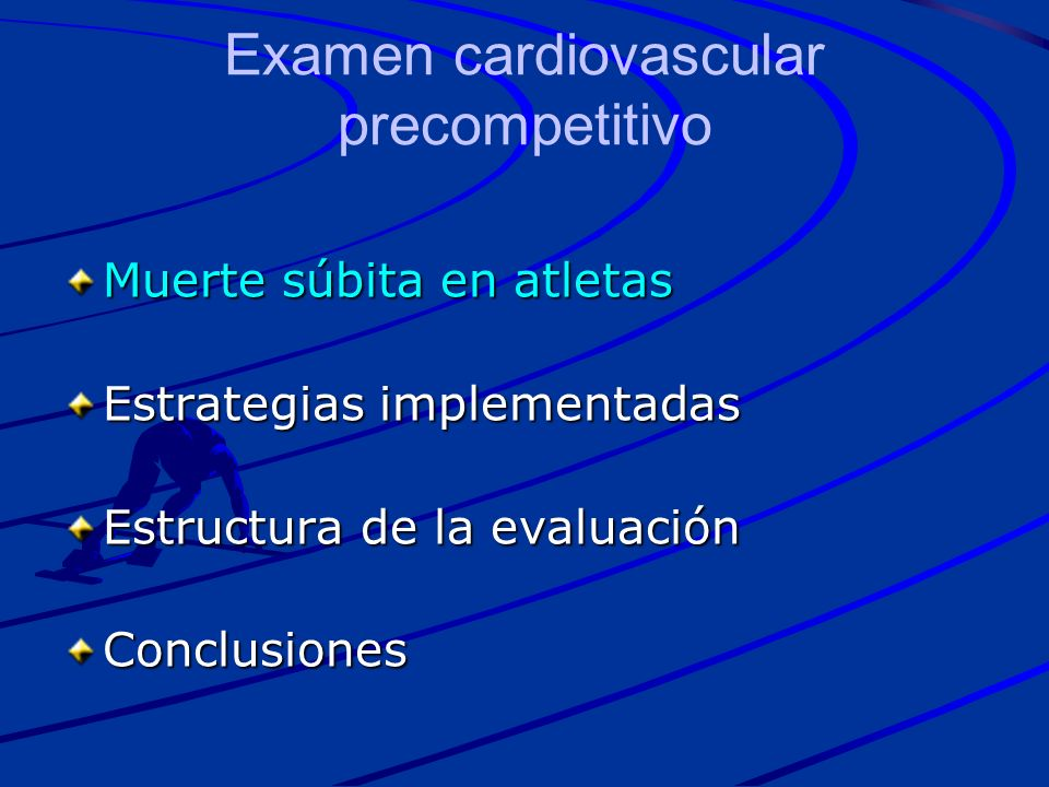 ECG –Bradicardia sinusal moderada –Trastornos de conducción Bloqueo AV 1er grado (1,5 al 7%) Bloqueo AV 2o grado (1 al 10%) –Mobitz 1 y Mobitz 2 (descartar causas orgánicas) Bloqueo AV completo (2 en 12000) Ritmos de la Unión (0,3 al 7%) Bloqueos intraauriculares - intraventriculares –Voltajes y repolarización ventricular Sokolow (+) en 28% –Intervalo QT Corazón del Deportista Hallazgos