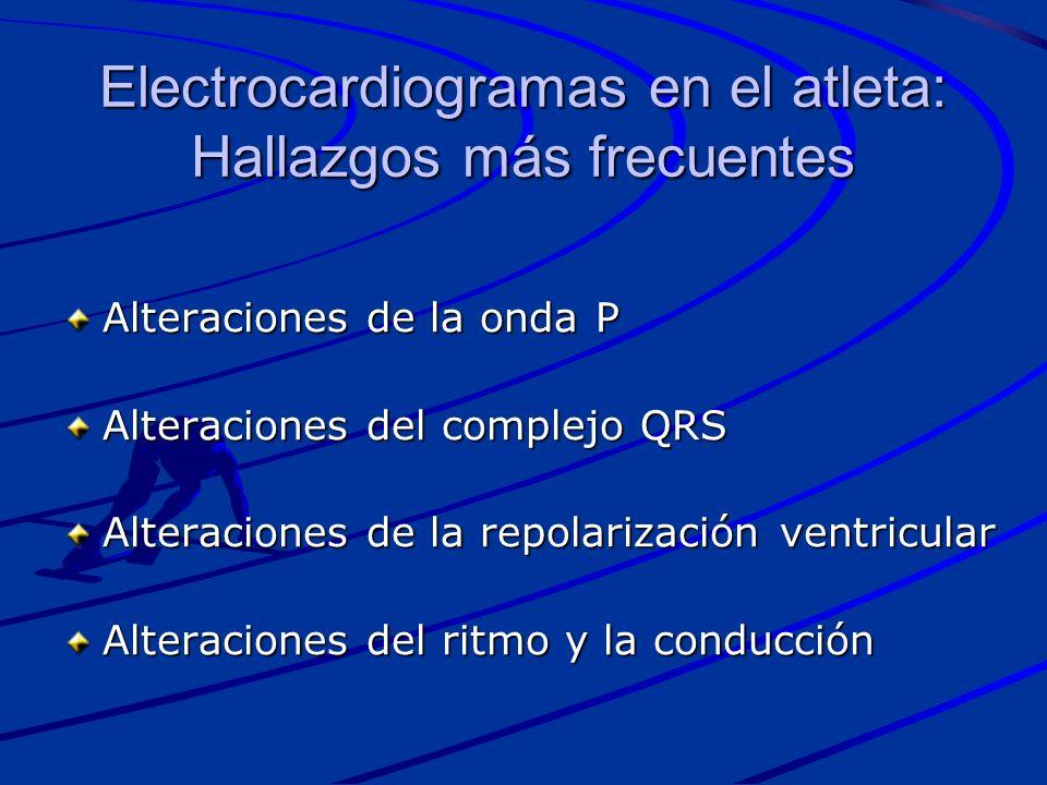 Electrocardiogramas en el atleta: Hallazgos más frecuentes Alteraciones de la onda P Alteraciones del complejo QRS Alteraciones de la repolarización v