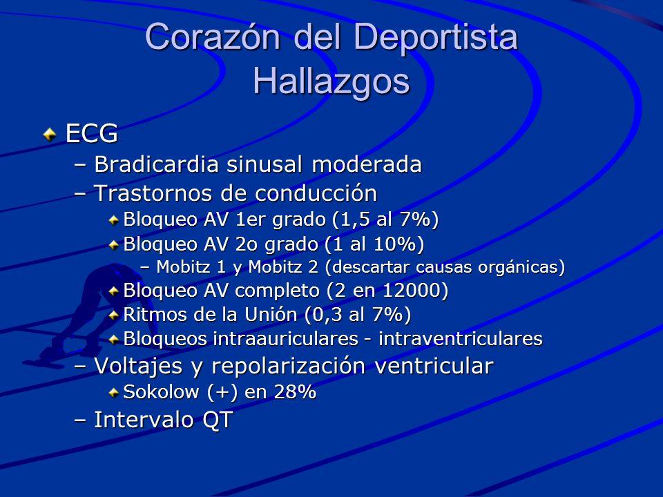 ECG –Bradicardia sinusal moderada –Trastornos de conducción Bloqueo AV 1er grado (1,5 al 7%) Bloqueo AV 2o grado (1 al 10%) –Mobitz 1 y Mobitz 2 (desc