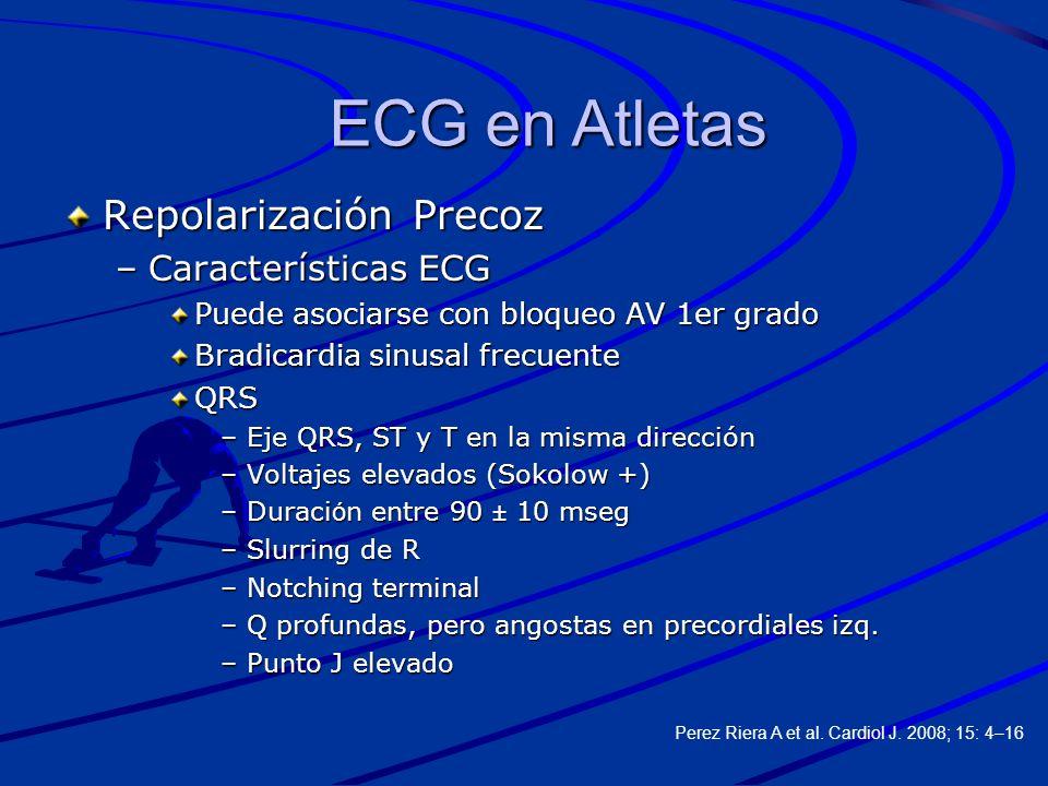 Repolarización Precoz –Características ECG Puede asociarse con bloqueo AV 1er grado Bradicardia sinusal frecuente QRS –Eje QRS, ST y T en la misma dir