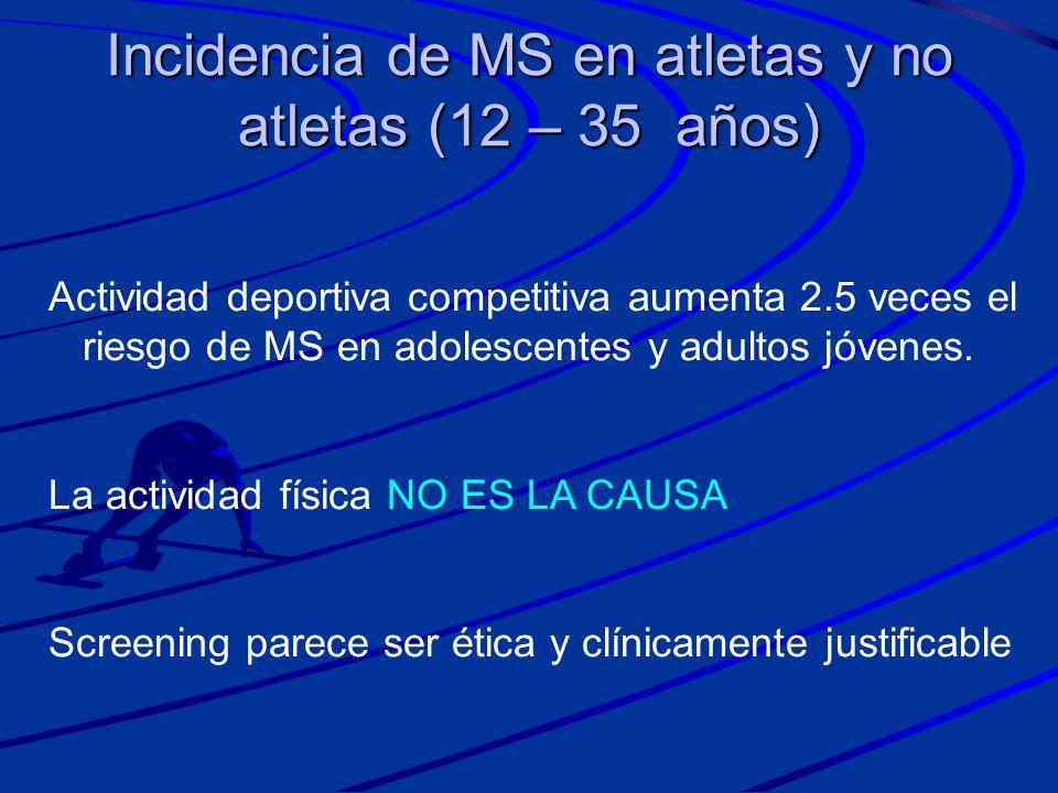 Incidencia de MS en atletas y no atletas (12 – 35 años) Actividad deportiva competitiva aumenta 2.5 veces el riesgo de MS en adolescentes y adultos jó
