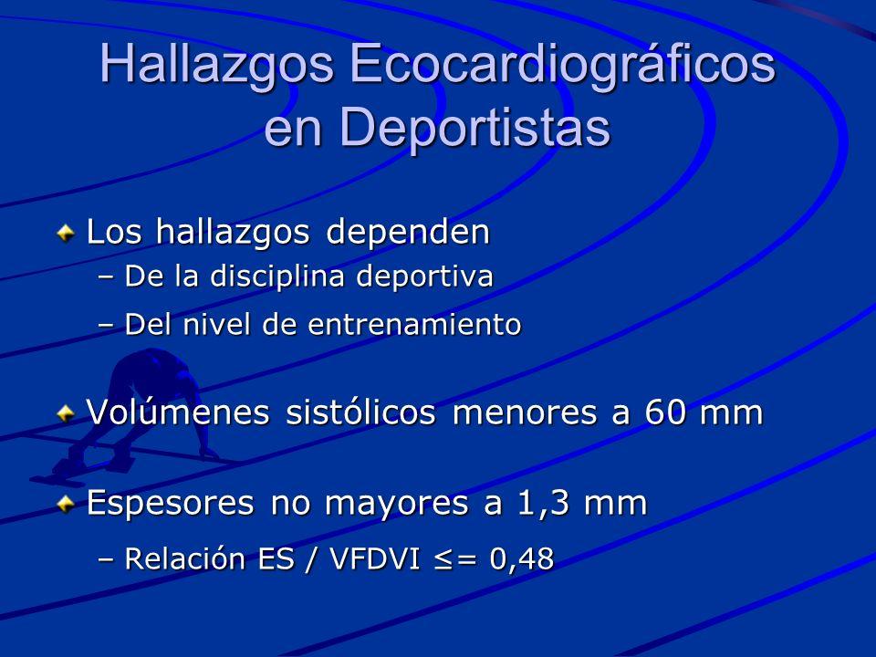 Los hallazgos dependen –De la disciplina deportiva –Del nivel de entrenamiento Volúmenes sistólicos menores a 60 mm Espesores no mayores a 1,3 mm –Rel