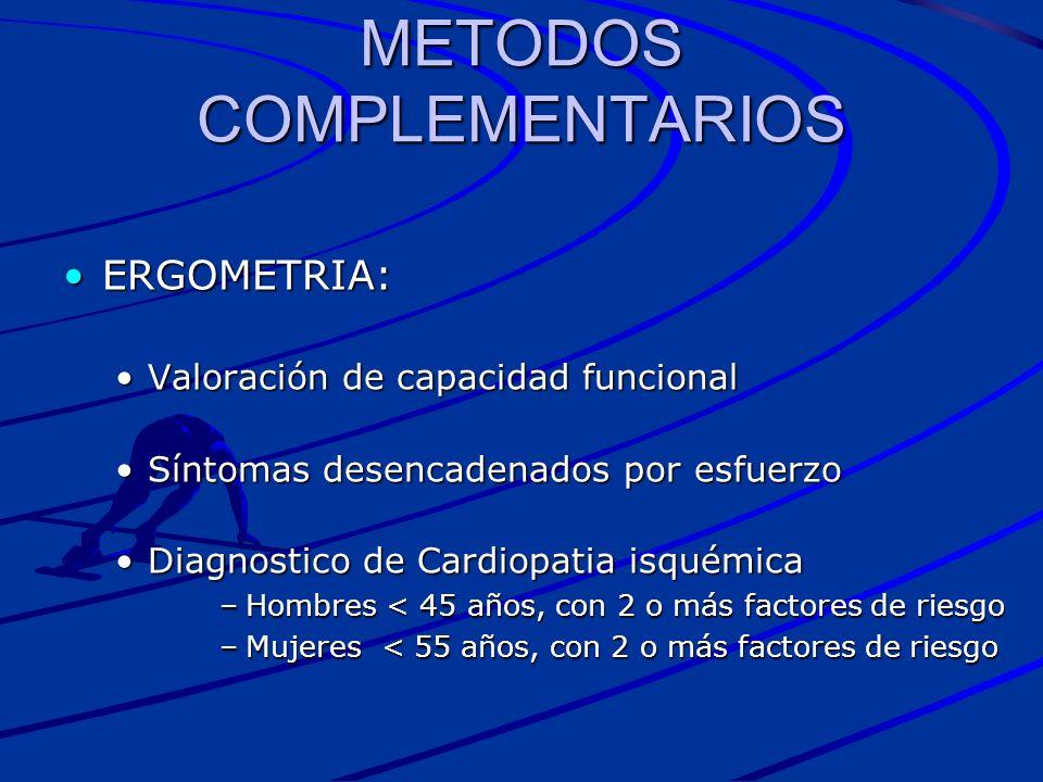 METODOS COMPLEMENTARIOS ERGOMETRIA:ERGOMETRIA: Valoración de capacidad funcionalValoración de capacidad funcional Síntomas desencadenados por esfuerzo