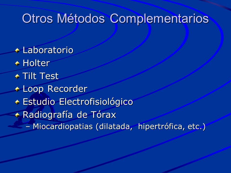 Otros Métodos Complementarios LaboratorioHolter Tilt Test Loop Recorder Estudio Electrofisiológico Radiografía de Tórax –Miocardiopatias (dilatada, hi
