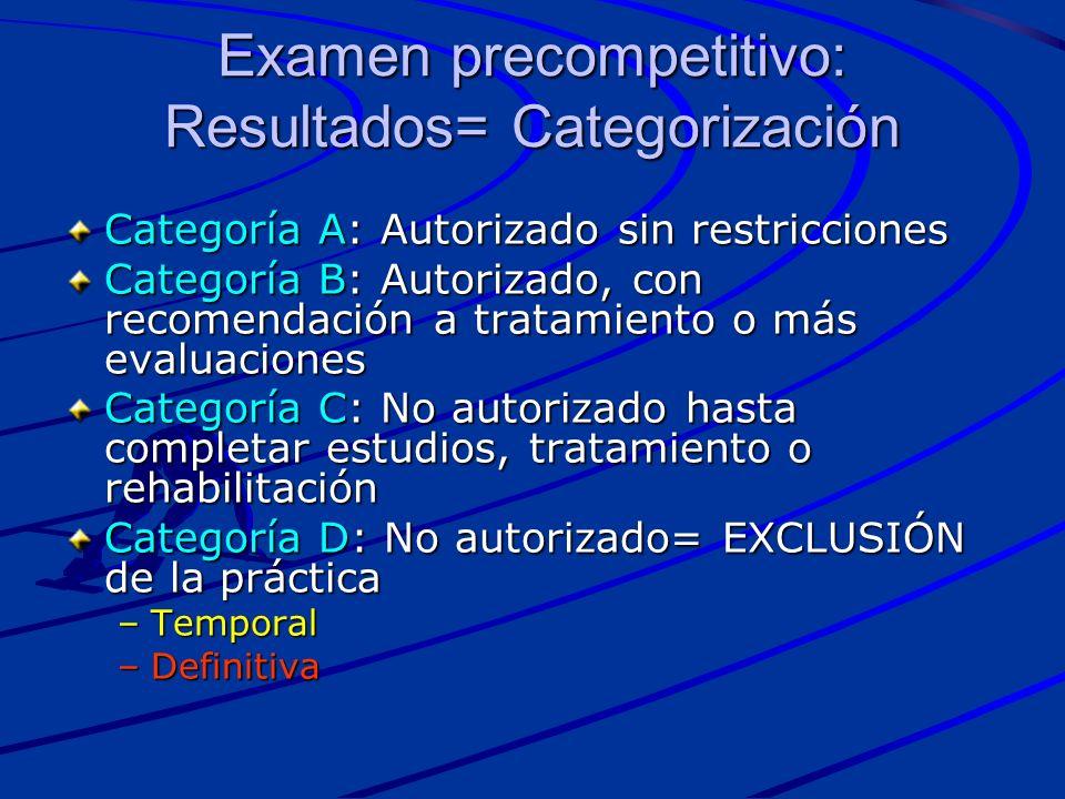 Examen precompetitivo: Resultados= Categorización Categoría A: Autorizado sin restricciones Categoría B: Autorizado, con recomendación a tratamiento o