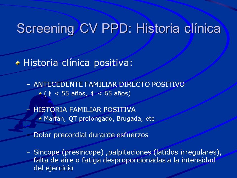 Screening CV PPD: Historia clínica Historia clínica positiva: – –ANTECEDENTE FAMILIAR DIRECTO POSITIVO ( < 55 años, < 65 años) – –HISTORIA FAMILIAR PO