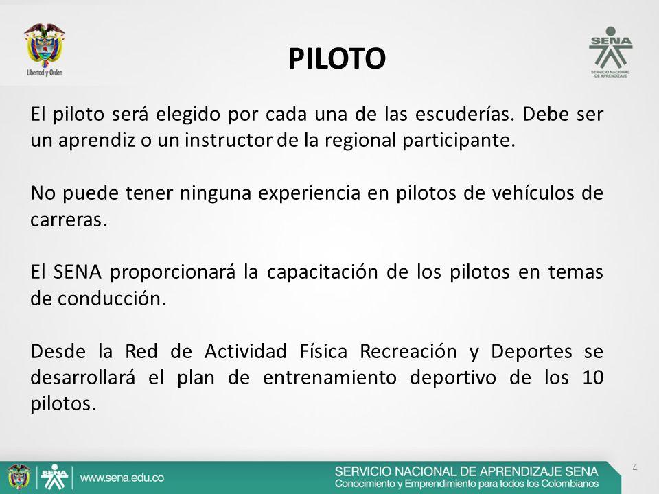 4 PILOTO El piloto será elegido por cada una de las escuderías. Debe ser un aprendiz o un instructor de la regional participante. No puede tener ningu