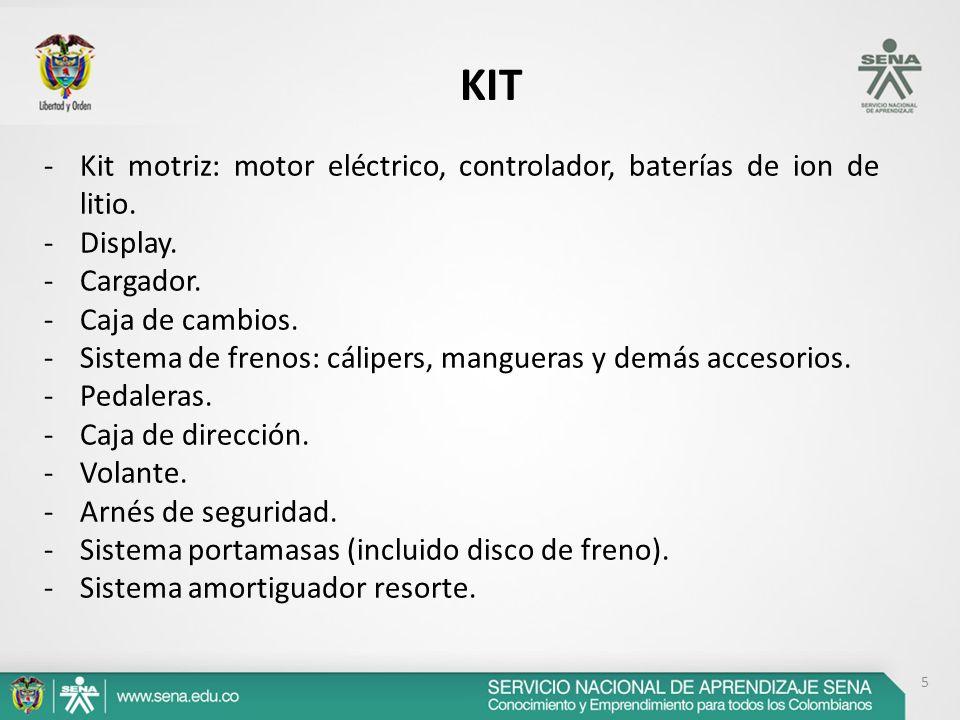 5 KIT -Kit motriz: motor eléctrico, controlador, baterías de ion de litio. -Display. -Cargador. -Caja de cambios. -Sistema de frenos: cálipers, mangue