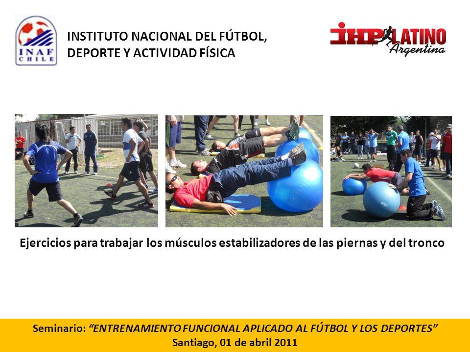 Seminario: ENTRENAMIENTO FUNCIONAL APLICADO AL FÚTBOL Y LOS DEPORTES Santiago, 01 de abril 2011 Ejercicios para trabajar los músculos estabilizadores