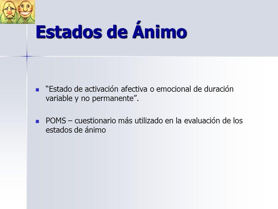Estados de Ánimo Estado de activación afectiva o emocional de duración variable y no permanente.
