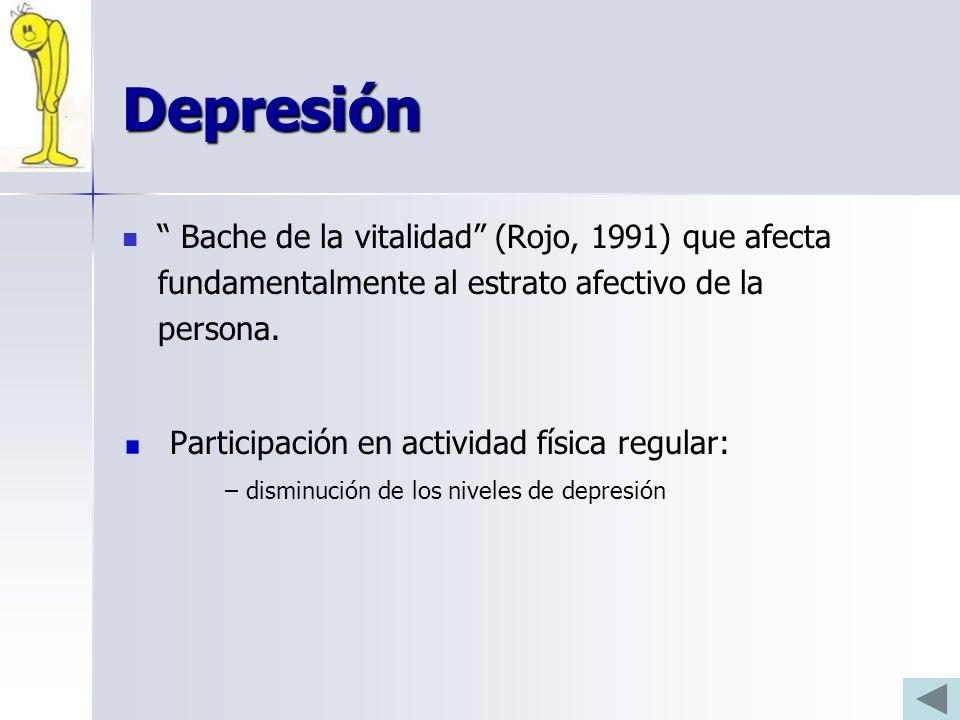 Depresión Bache de la vitalidad (Rojo, 1991) que afecta fundamentalmente al estrato afectivo de la persona.
