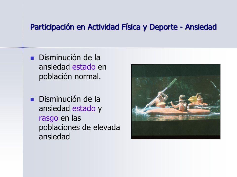 Participación en Actividad Física y Deporte - Ansiedad Disminución de la ansiedad estado en población normal.