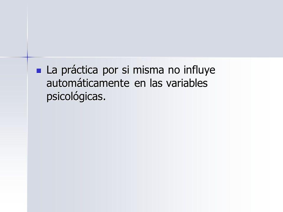 La práctica por si misma no influye automáticamente en las variables psicológicas.