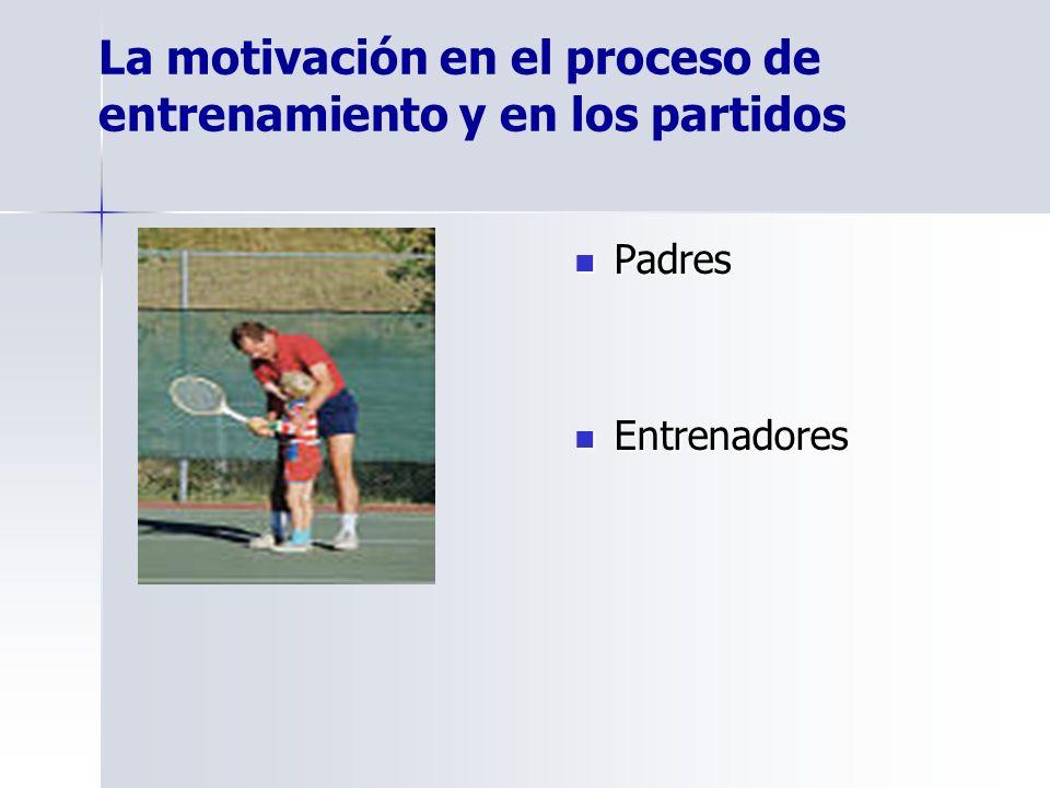 La motivación en el proceso de entrenamiento y en los partidos Padres Padres Entrenadores Entrenadores