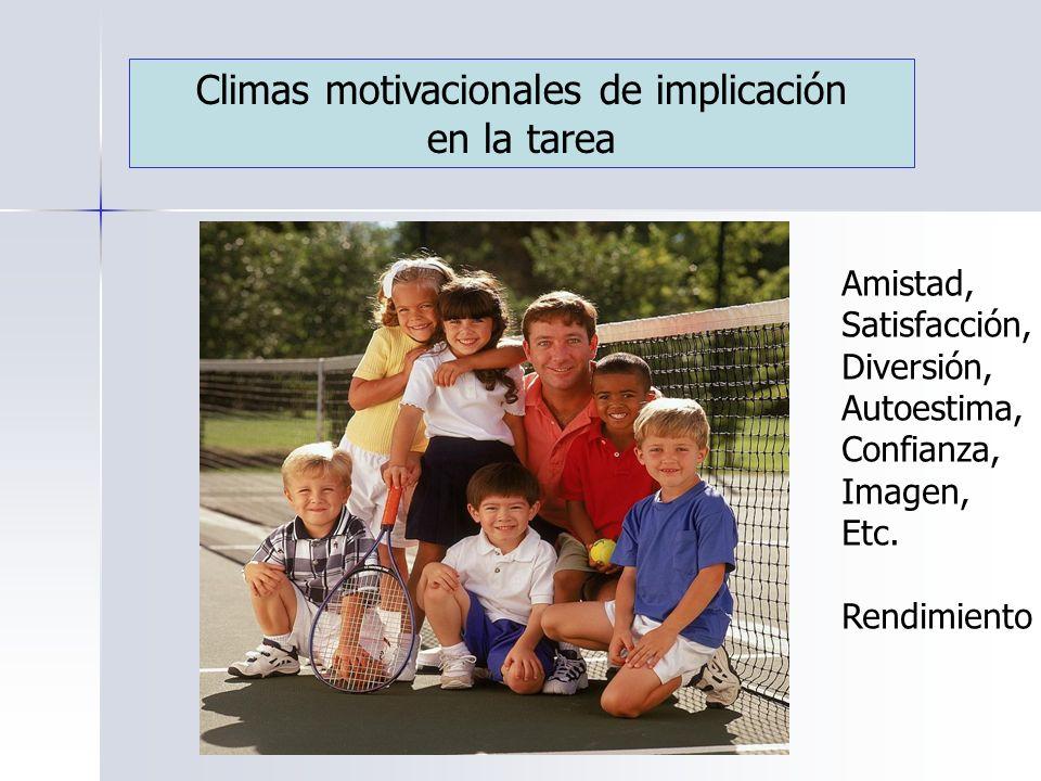 Climas motivacionales de implicación en la tarea Amistad, Satisfacción, Diversión, Autoestima, Confianza, Imagen, Etc.