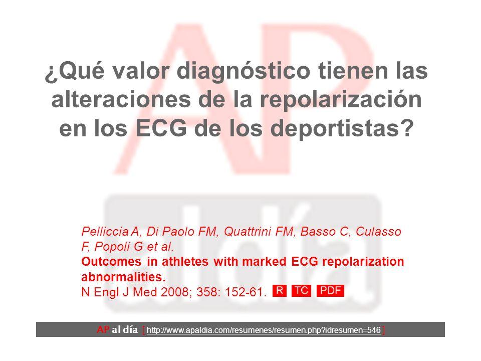 ¿Qué valor diagnóstico tienen las alteraciones de la repolarización en los ECG de los deportistas.