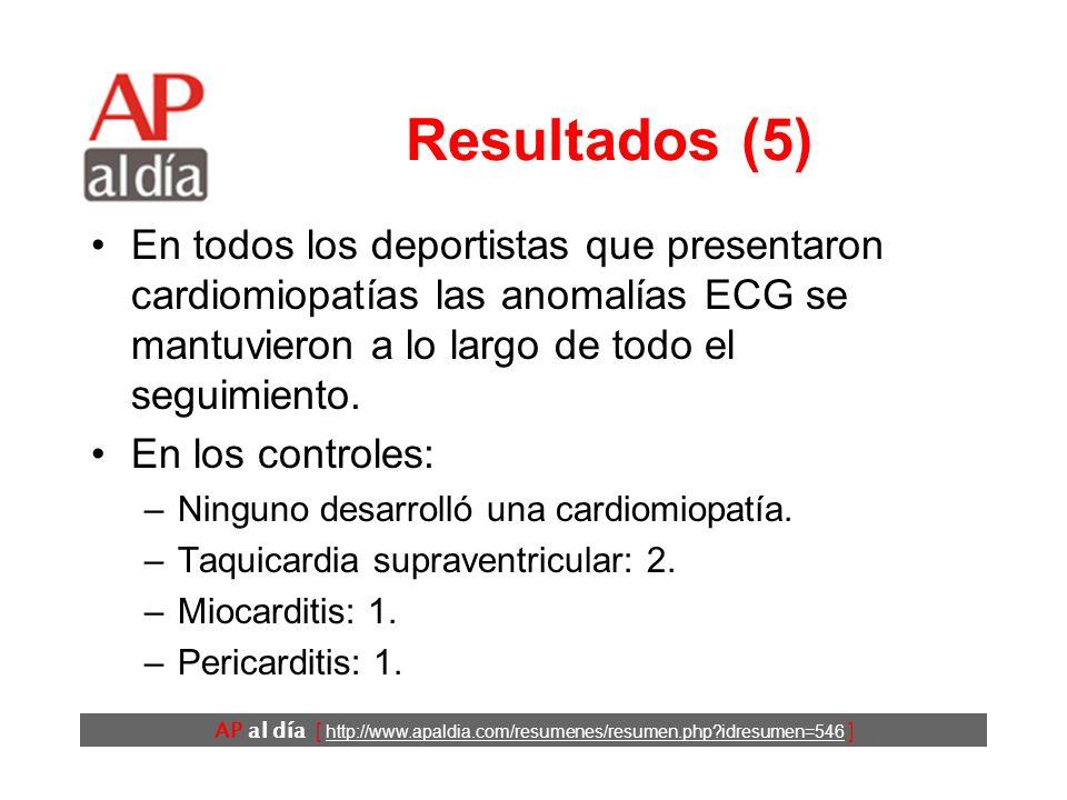 AP al día [ http://www.apaldia.com/resumenes/resumen.php idresumen=546 ] Resultados (4) En 11 (14%) deportistas con alteraciones de la repolarización se detectaron enfermedades cardiovasculares en el seguimiento: –Uno murió a los 24 años un año después de la valoración inicial por una cardiomiopatía ventricular derecha arritmogénica que no se había detectado.