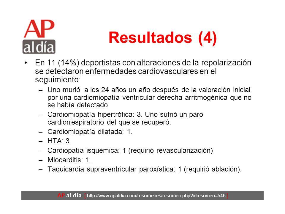 AP al día [ http://www.apaldia.com/resumenes/resumen.php?idresumen=546 ] Resultados (4) En 11 (14%) deportistas con alteraciones de la repolarización se detectaron enfermedades cardiovasculares en el seguimiento: –Uno murió a los 24 años un año después de la valoración inicial por una cardiomiopatía ventricular derecha arritmogénica que no se había detectado.