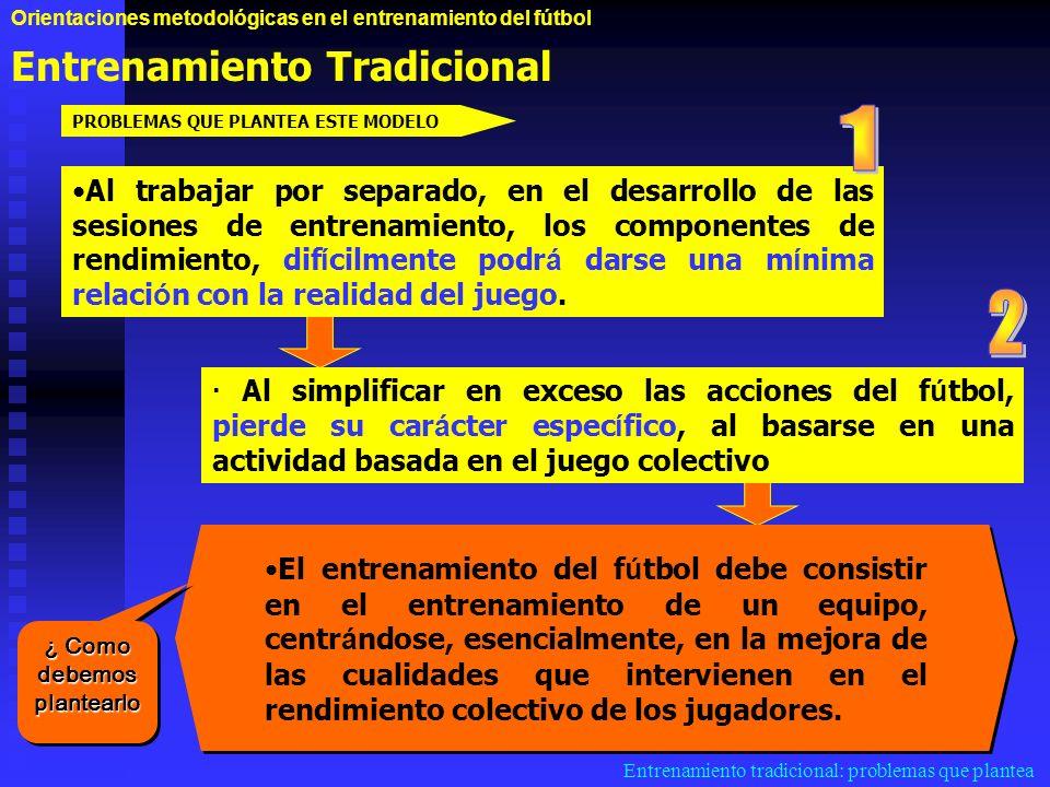 Orientaciones metodológicas en el entrenamiento del fútbol Entrenamiento Tradicional Entrenamiento tradicional: problemas que plantea Al trabajar por