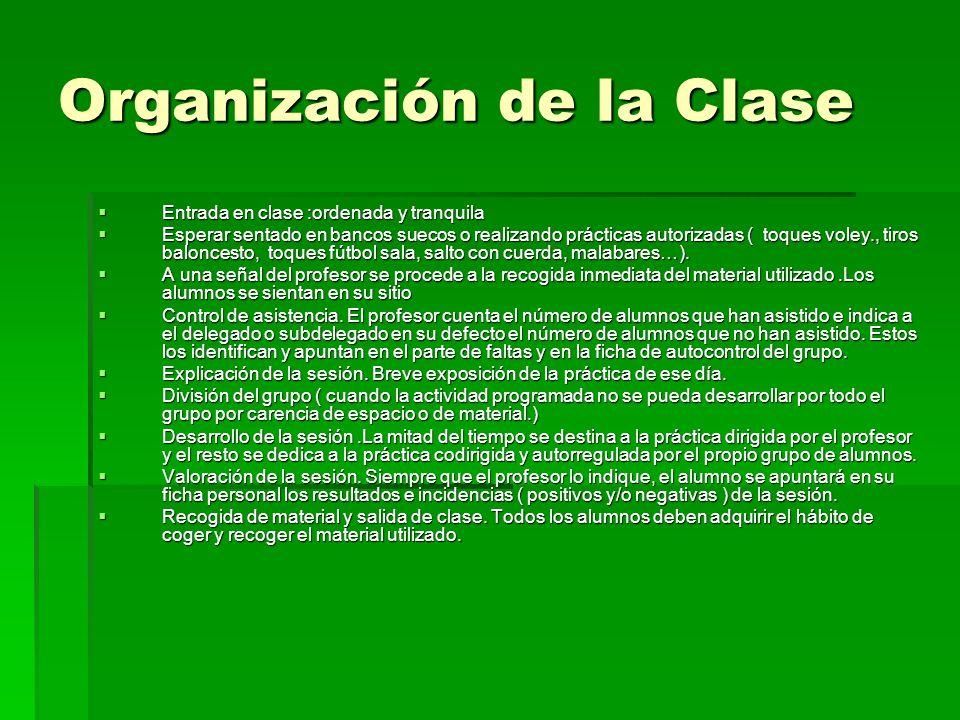 Organización de la Clase Entrada en clase :ordenada y tranquila Entrada en clase :ordenada y tranquila Esperar sentado en bancos suecos o realizando p