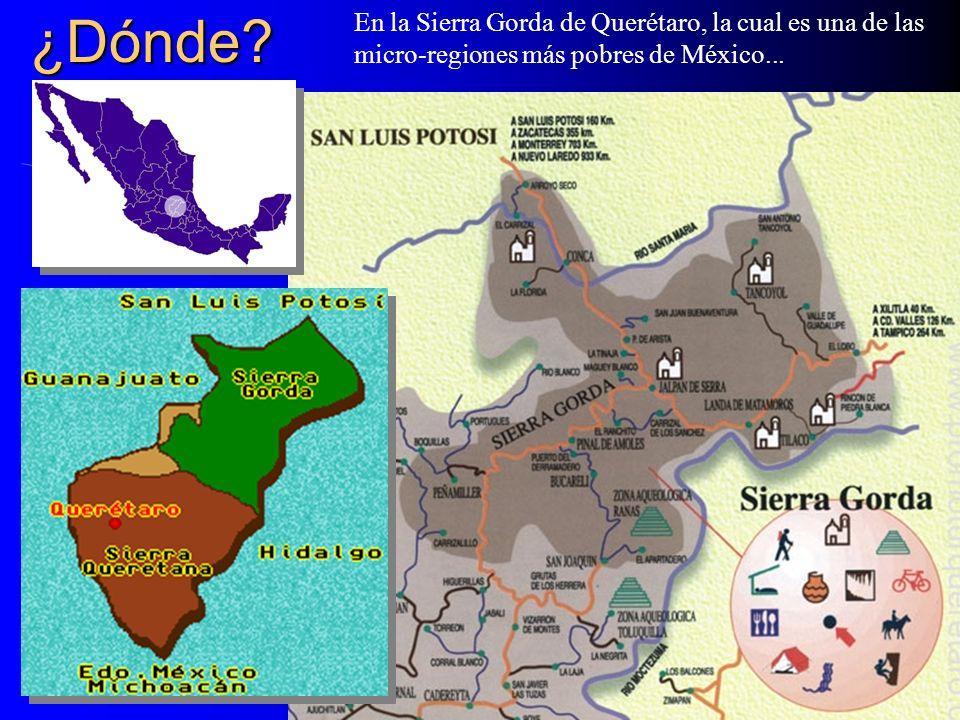¿Dónde? En la Sierra Gorda de Querétaro, la cual es una de las micro-regiones más pobres de México...