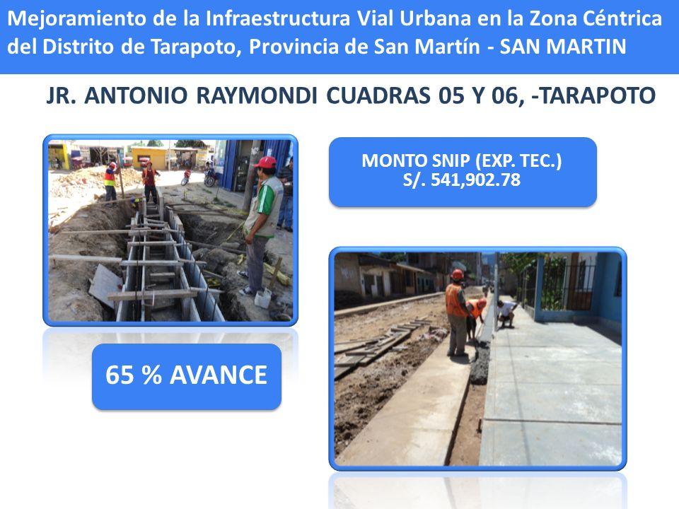 Mejoramiento de la Infraestructura Vial Urbana en la Zona Céntrica del Distrito de Tarapoto, Provincia de San Martín - SAN MARTIN JR. ANTONIO RAYMONDI