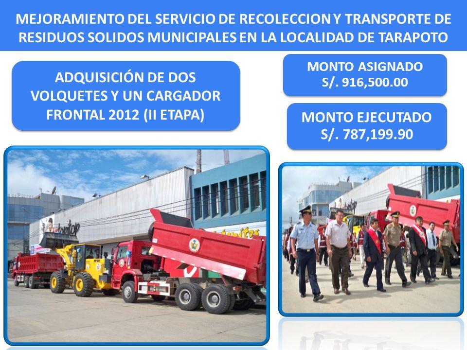 MEJORAMIENTO DEL SERVICIO DE RECOLECCION Y TRANSPORTE DE RESIDUOS SOLIDOS MUNICIPALES EN LA LOCALIDAD DE TARAPOTO MONTO ASIGNADO S/. 916,500.00 MONTO