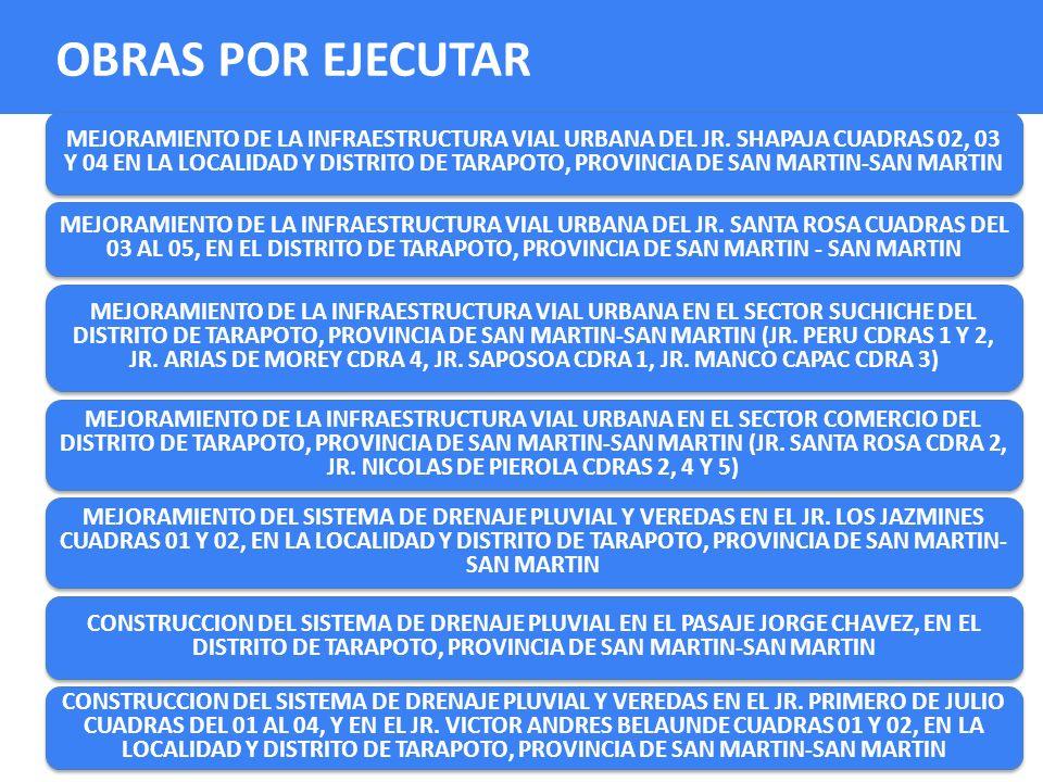 MEJORAMIENTO DE LA INFRAESTRUCTURA VIAL URBANA DEL JR. SHAPAJA CUADRAS 02, 03 Y 04 EN LA LOCALIDAD Y DISTRITO DE TARAPOTO, PROVINCIA DE SAN MARTIN-SAN