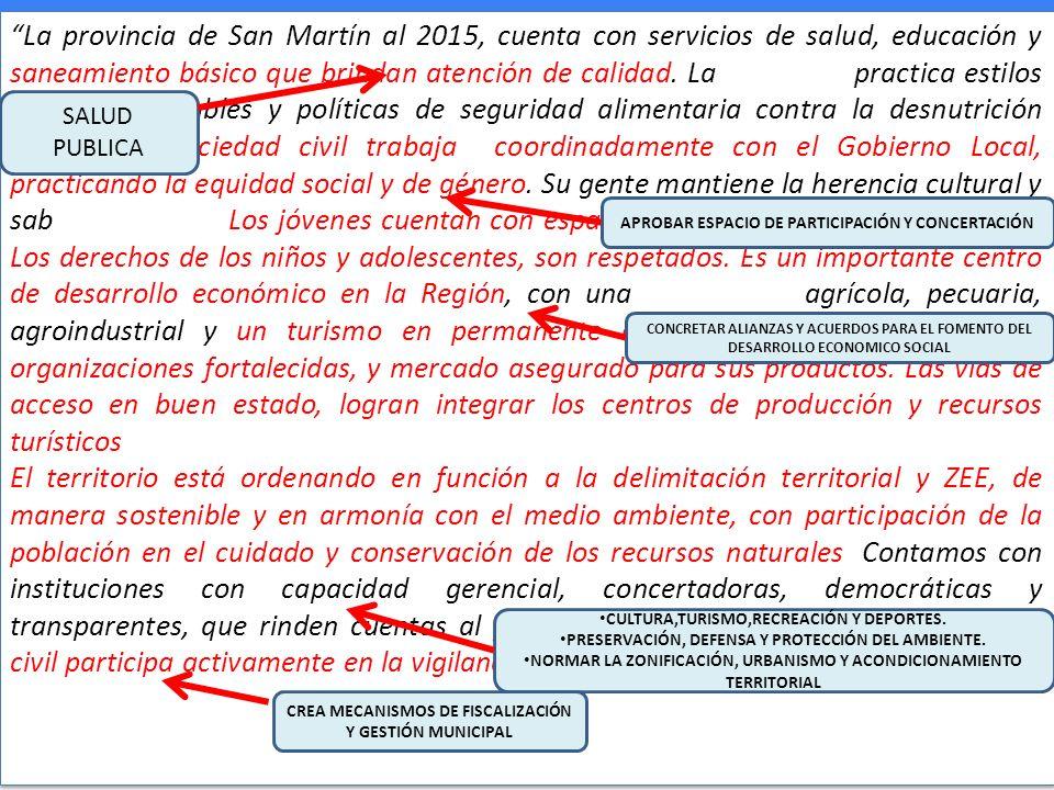 La provincia de San Martín al 2015, cuenta con servicios de salud, educación y saneamiento básico que brindan atención de calidad. La población practi