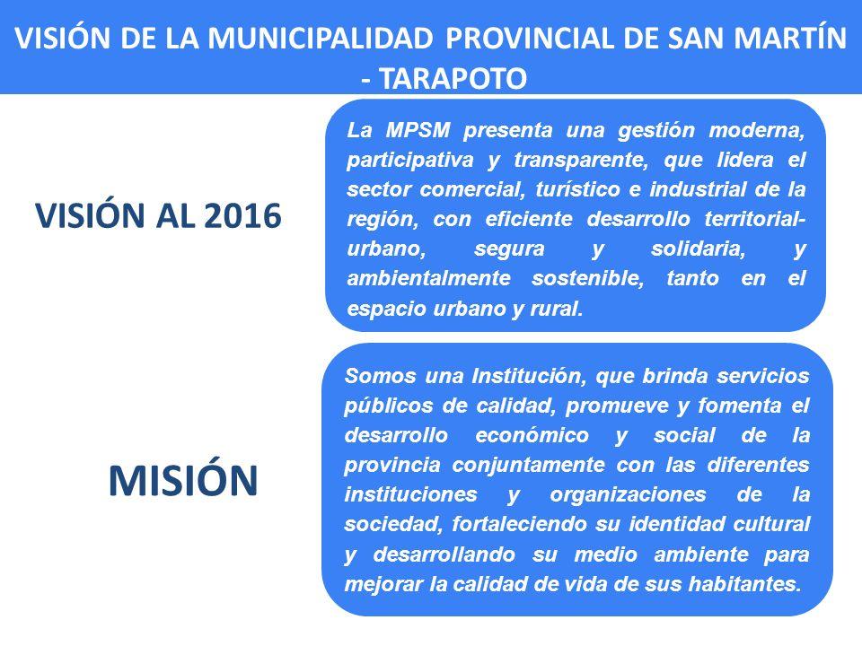 VISIÓN AL 2016 La MPSM presenta una gestión moderna, participativa y transparente, que lidera el sector comercial, turístico e industrial de la región