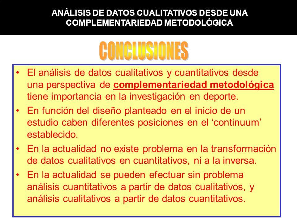 ANÁLISIS DE DATOS CUALITATIVOS DESDE UNA COMPLEMENTARIEDAD METODOLÓGICA El análisis de datos cualitativos y cuantitativos desde una perspectiva de com