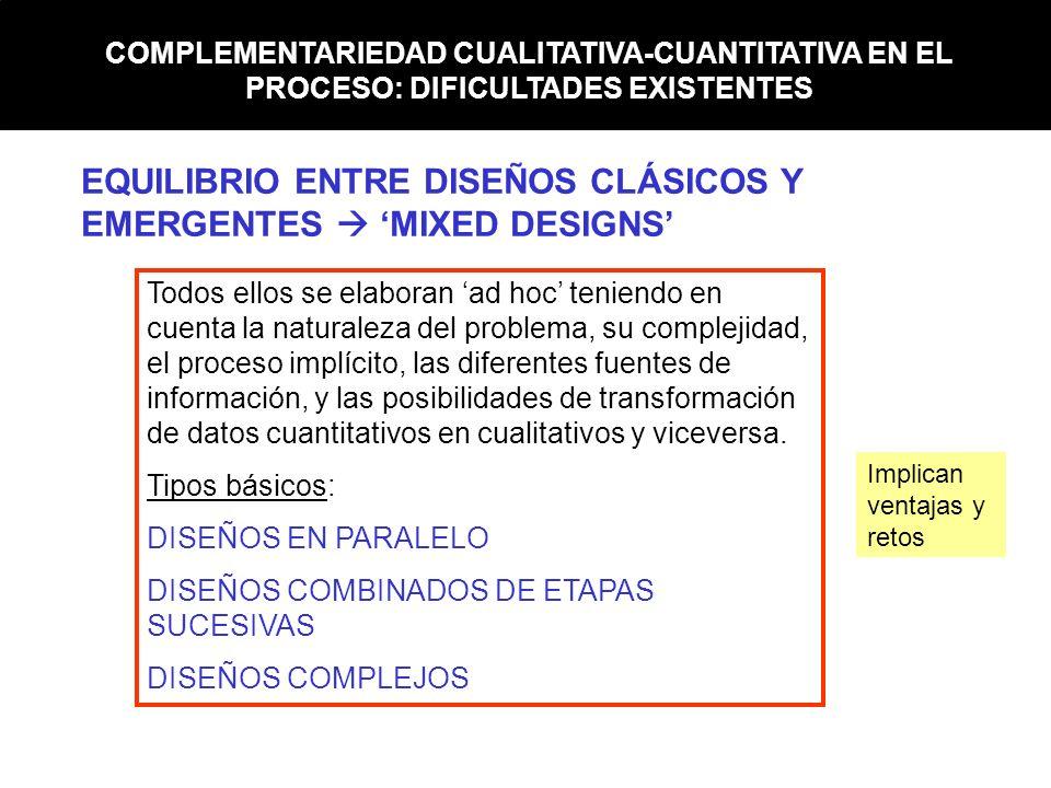 COMPLEMENTARIEDAD CUALITATIVA-CUANTITATIVA EN EL PROCESO: DIFICULTADES EXISTENTES EQUILIBRIO ENTRE DISEÑOS CLÁSICOS Y EMERGENTES MIXED DESIGNS Todos e