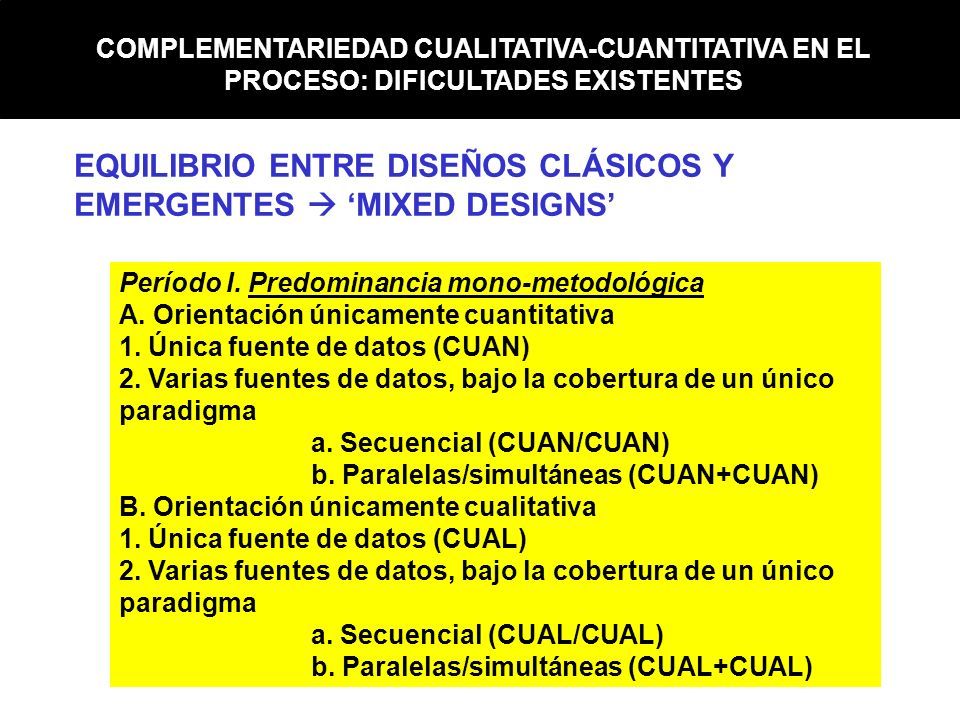 COMPLEMENTARIEDAD CUALITATIVA-CUANTITATIVA EN EL PROCESO: DIFICULTADES EXISTENTES EQUILIBRIO ENTRE DISEÑOS CLÁSICOS Y EMERGENTES MIXED DESIGNS Período