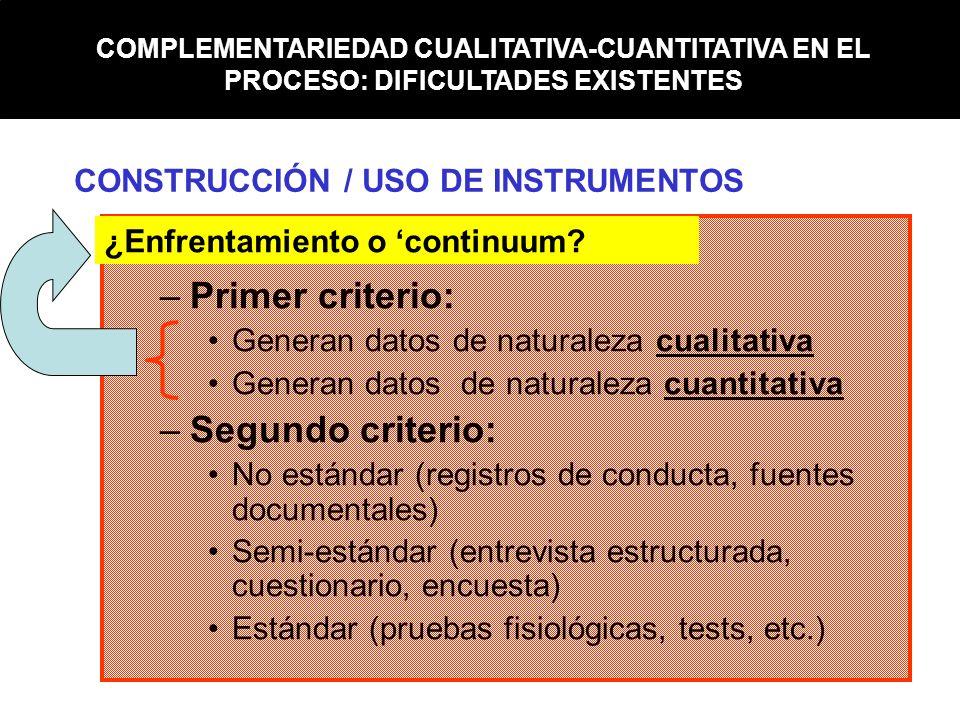 –Primer criterio: Generan datos de naturaleza cualitativa Generan datos de naturaleza cuantitativa –Segundo criterio: No estándar (registros de conduc