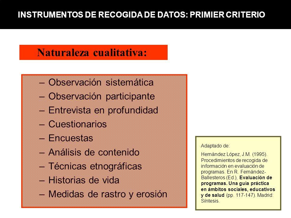 –Observación sistemática –Observación participante –Entrevista en profundidad –Cuestionarios –Encuestas –Análisis de contenido –Técnicas etnográficas