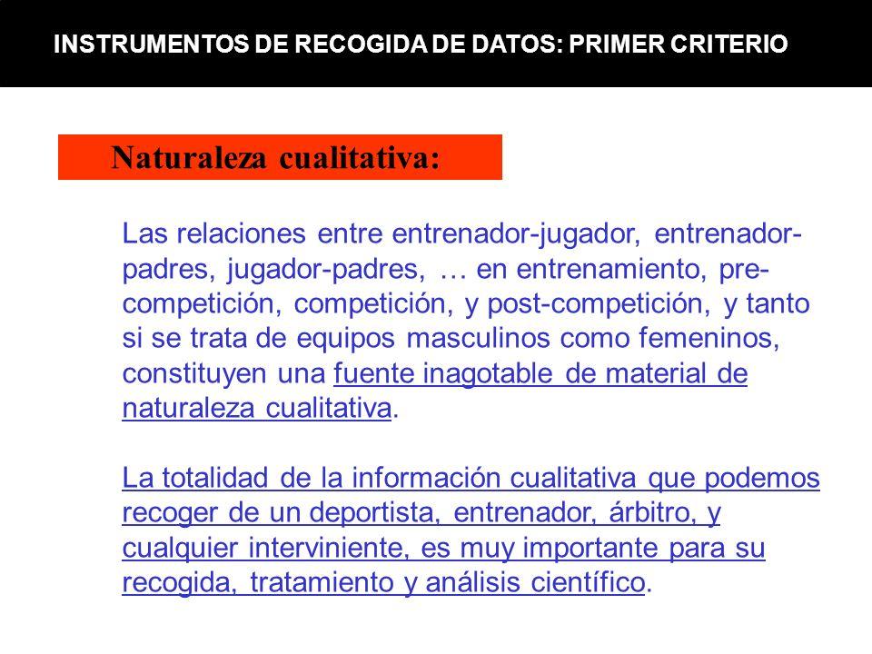 Naturaleza cualitativa: INSTRUMENTOS DE RECOGIDA DE DATOS: PRIMER CRITERIO Las relaciones entre entrenador-jugador, entrenador- padres, jugador-padres