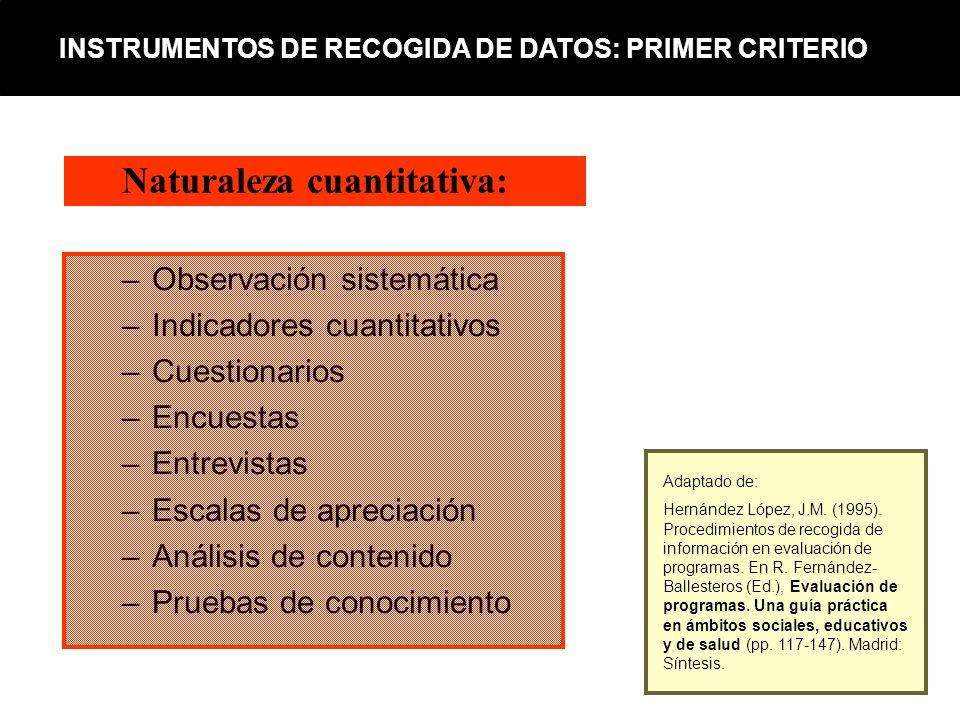 –Observación sistemática –Indicadores cuantitativos –Cuestionarios –Encuestas –Entrevistas –Escalas de apreciación –Análisis de contenido –Pruebas de