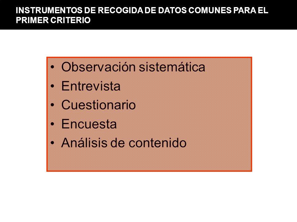 Observación sistemática Entrevista Cuestionario Encuesta Análisis de contenido INSTRUMENTOS DE RECOGIDA DE DATOS COMUNES PARA EL PRIMER CRITERIO