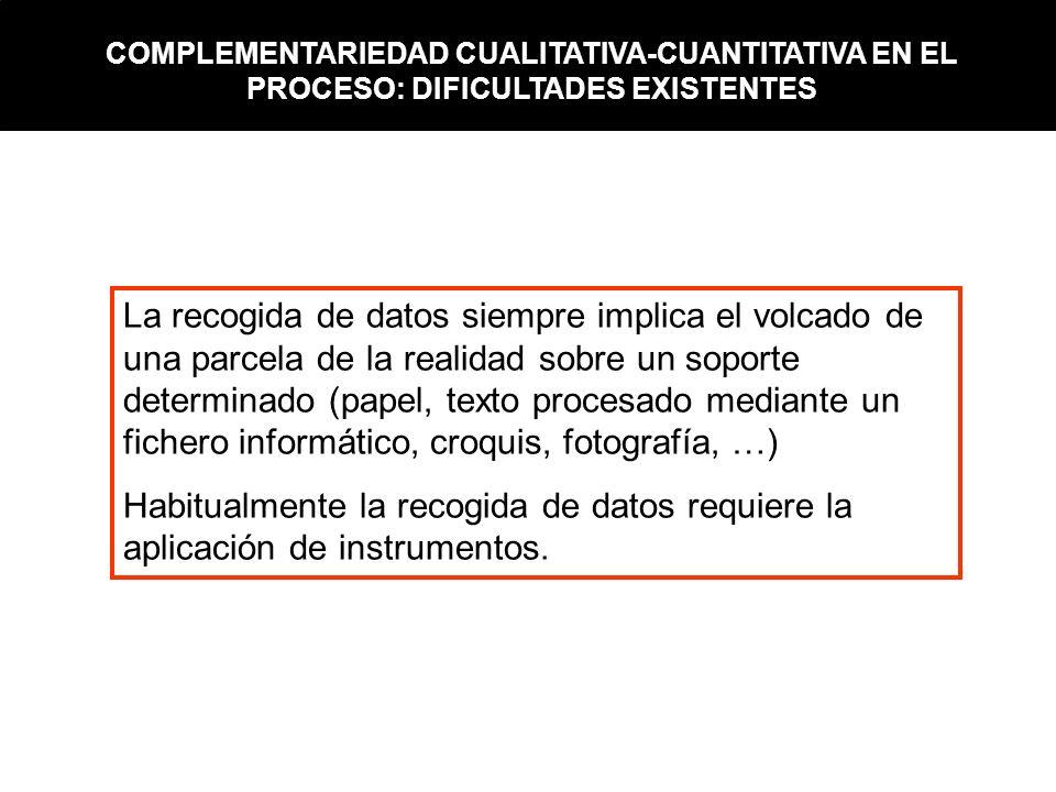 La recogida de datos siempre implica el volcado de una parcela de la realidad sobre un soporte determinado (papel, texto procesado mediante un fichero