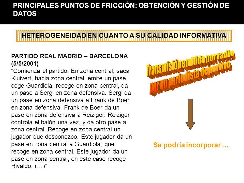 PARTIDO REAL MADRID – BARCELONA (5/5/2001) Comienza el partido. En zona central, saca Kluivert, hacia zona central, emite un pase, coge Guardiola, rec